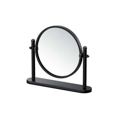 10.38 in. x 8.75 in. Table Makeup Mirror in Matte Black