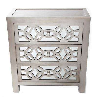 Glam Slam 3-Drawer Silver Cabinet