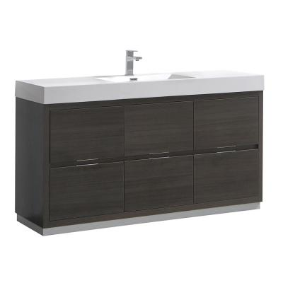 Valencia 60 in. W Bathroom Vanity in Gray Oak with Double Acrylic Vanity Top in White