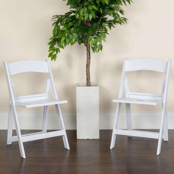 Flash Furniture Hercules Series 1000 lb. Capacity White Resin Folding Chair
