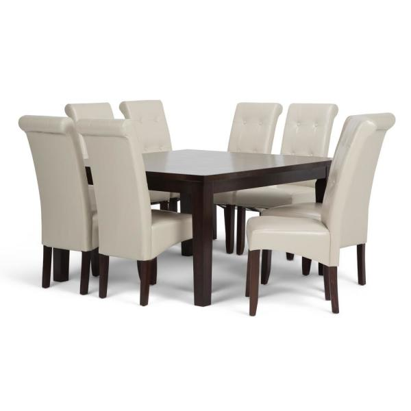 Simpli Home Cosmopolitan 9 Piece Dining Set With 8 Upholstered Dining Chairs In Satin Cream Faux Leather And 54 In Wide Table Axcds9 Cos Cr The Home Depot
