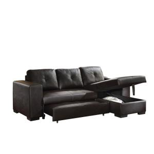 ACME Furniture Lloyd Black PU Sectional Sofa Bed 53345 - The Home Depot