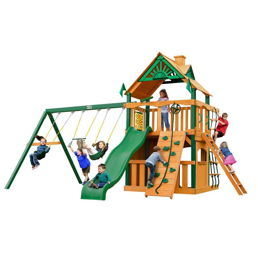 Gorilla playsets chateau clubhouse with timber shield for Gorilla playsets