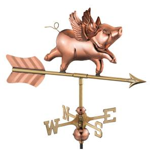 Flying Pig Cottage Weathervane - Pure Copper with Roof Mount
