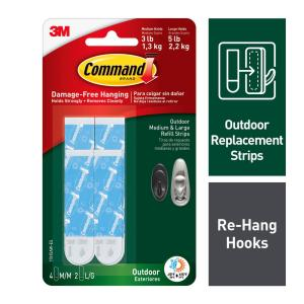 Command Medium And Large Outdoor Foam Strip Refills 6