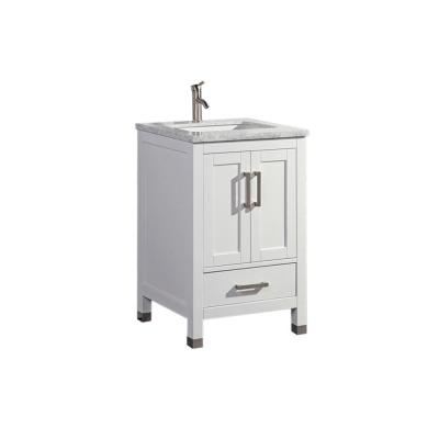 Reisa 24 in. W x 22 in. D x 36 in. H Bath Vanity in White with Grey/White Carrara Marble Vanity Top with White Basin