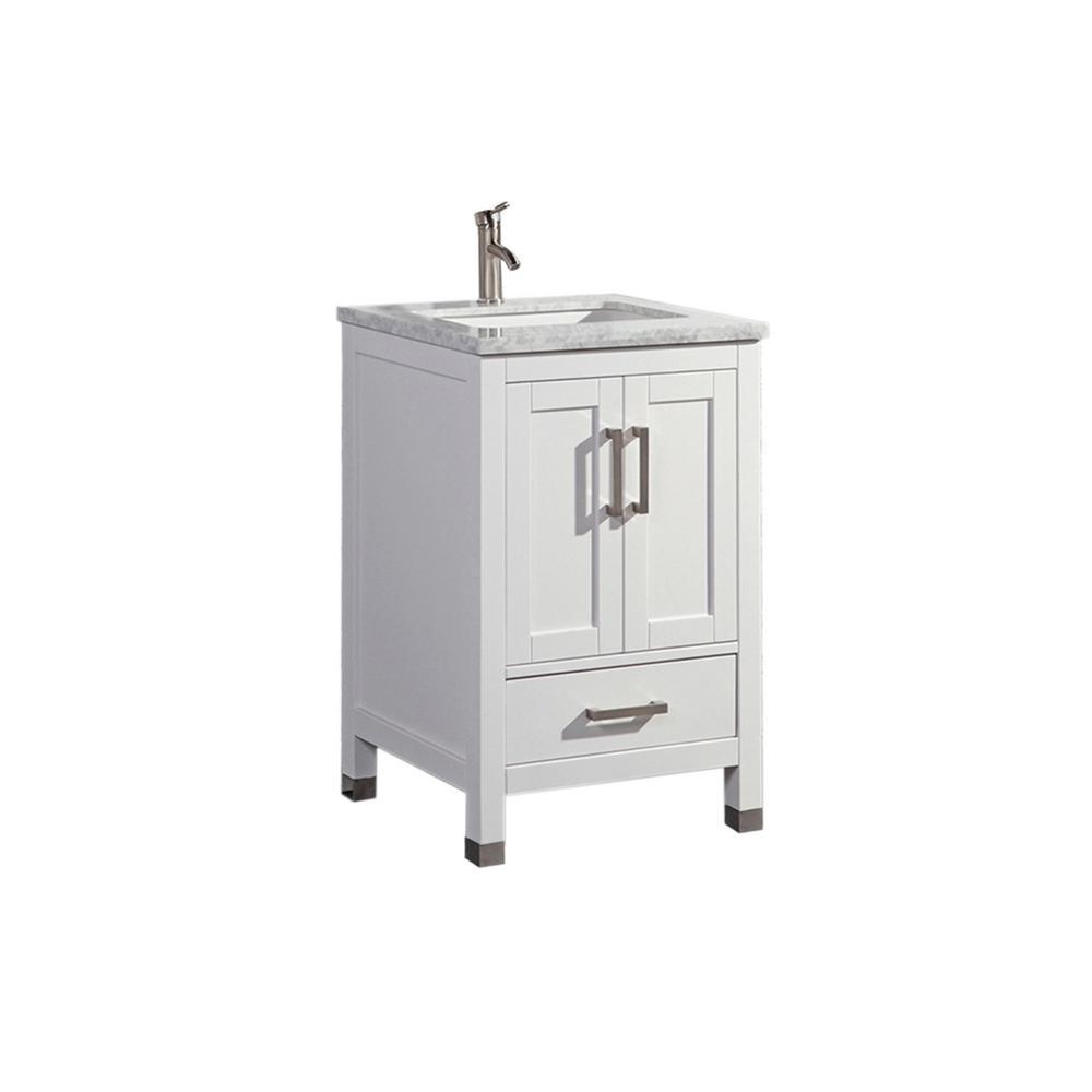 Reisa 24 in. W x 22 in. D x 36 in. H Bath Vanity in White with Grey/White Carrara Marble Vanity Top with White Basin