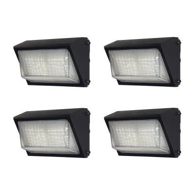 High-Output 450-Watt Equivalent Integrated LED Wall Pack, 6800 Lumens, Dusk to Dawn Outdoor Security Light (4-Pack)