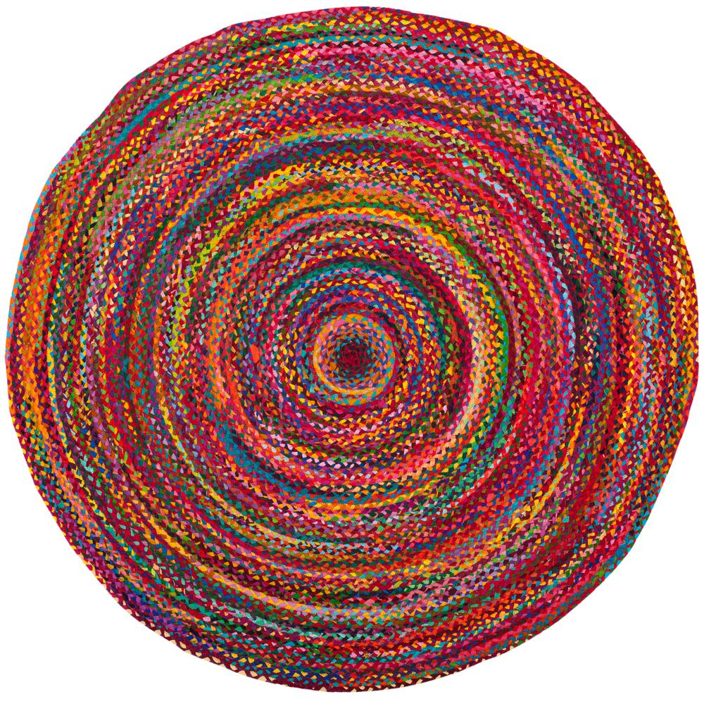 Safavieh Braided Red Multi 3 Ft X 3 Ft Round Area Rug Brd210a 3r