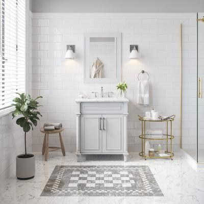Aberdeen 30 in. x 22 in. D Bath Vanity in. Dove Grey with Carrara Marble Vanity Top in White with White Basin