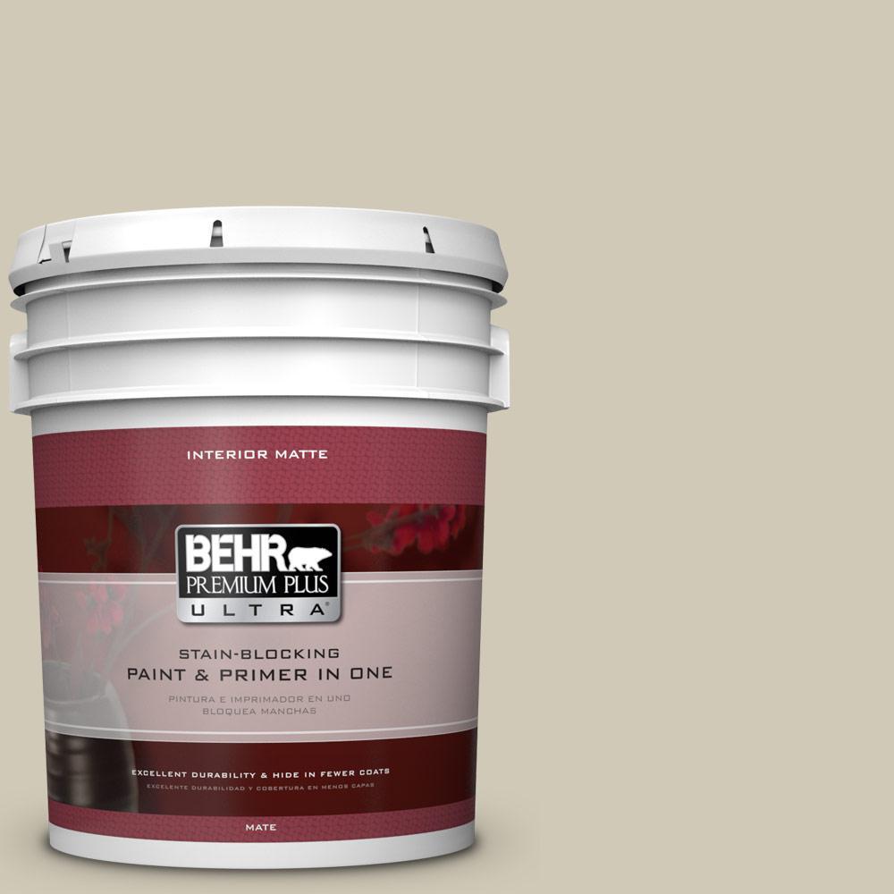 BEHR Premium Plus Ultra 5 gal. #N330-3 Unmarked Trail Matte Interior Paint