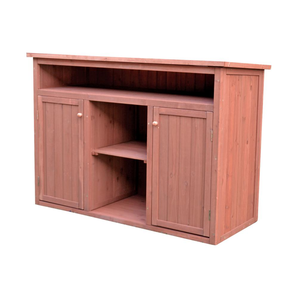 Leisure Season 50 in. W x 23 in. D x 36 in. H Medium Brown Cypress Short Display and Hideaway Storage Shed Cabinet