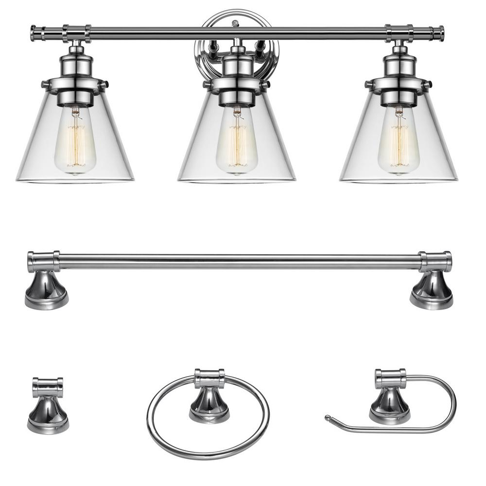 Parker 3-Light Chrome All-In-One Bath Light Vanity (5-Piece)
