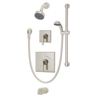 Duro 30 in. 1-Handle 1-Spray Tub and Hand Shower Faucet System with Hand Spray in Satin Nickel (Valve Included)