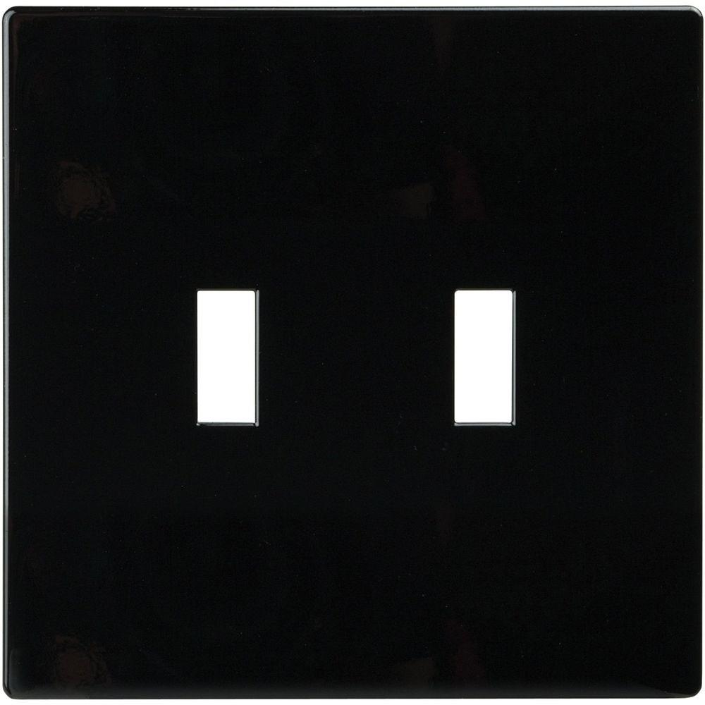 2-Gang Screwless Toggle Polycarbonate Wall Plate, Black
