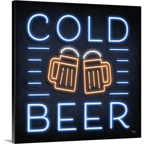 GreatBigCanvas ''Neon Cold Beer'' by Mollie B. Canvas Wall Art 2403550_24_36x36
