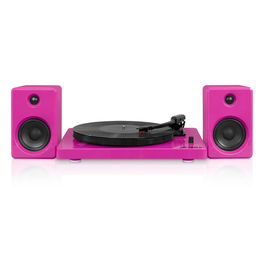 Modern Design 50-Watt Record Player with Bluetooth and 3-Speed Turntable in Pink Modern design meets today's technology. The Victrola Bluetooth record player is elegantly simplistic in design, but overpowering in its performance. Dual stereo 50-Watt speakers blast music from either a 3-speed turntable (33 1/3, 45, 78 RON) or built-in Bluetooth technology.