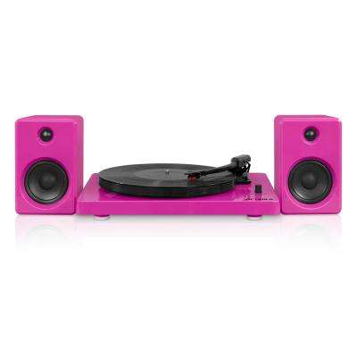 Modern Design 50-Watt Record Player with Bluetooth and 3-Speed Turntable in Pink