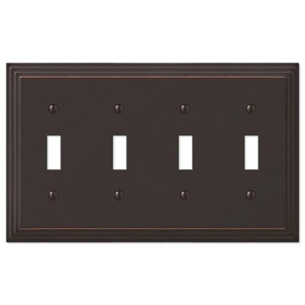 Tiered 4 Gang Toggle Metal Wall Plate - Aged Bronze