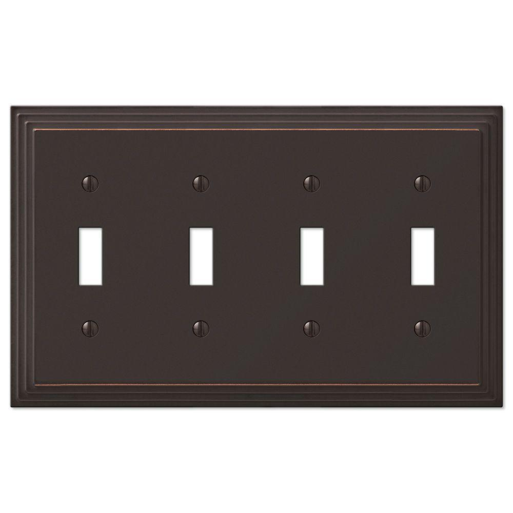Hampton Bay Steps 4 Toggle Wall Plate - Aged Bronze