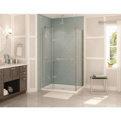 Reveal 31-7/8 in. x 48 in. x 71-1/2 in. Frameless Corner Pivot Shower Enclosure in Brushed Nickel