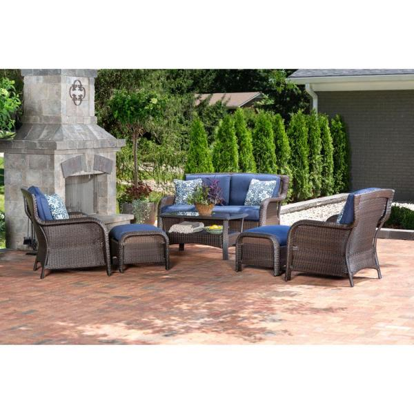 Strathmere 6-Piece All-Weather Wicker Patio Deep Seating Set with Navy Blue Cushions