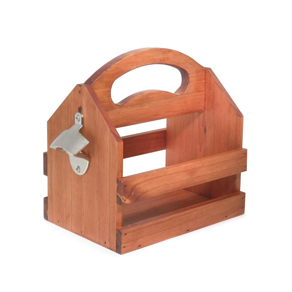Solid Wood Bottle Caddy with Bottle Opener (6-Pack)