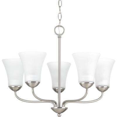 Classic Collection 5-Light Brushed Nickel Chandelier with Etched Glass Shade