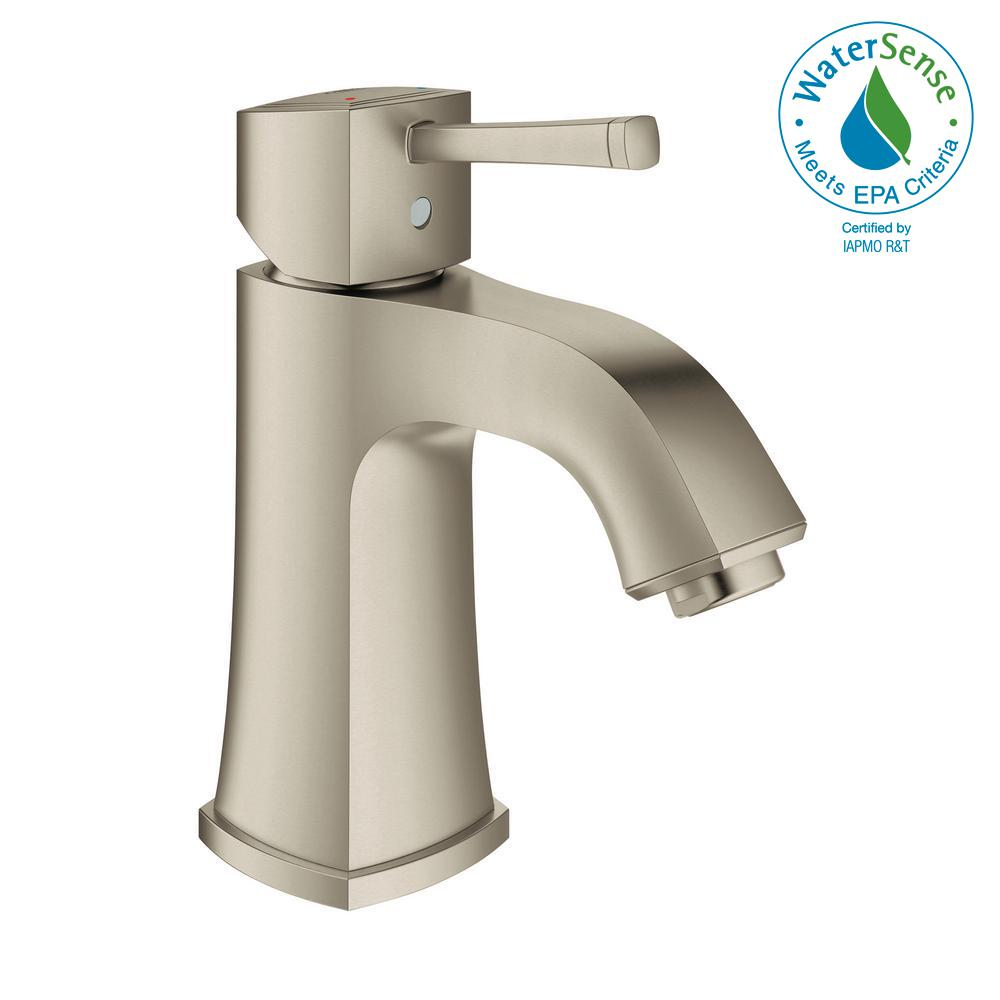 Grandera Single Hole Single-Handle Bathroom Faucet in Brushed Nickel InfinityFinish