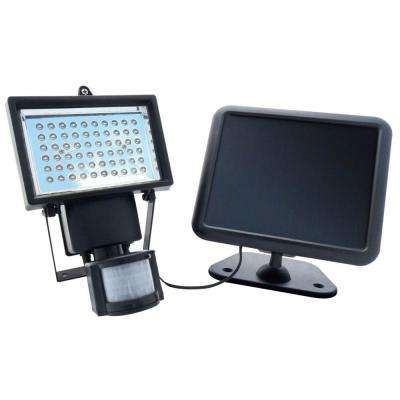 Black Outdoor Solar Powered Motion Activated 60-LED Security Light