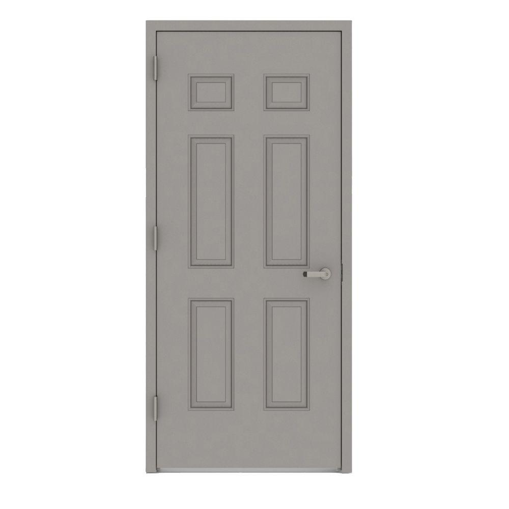 36 in. x 80 in. Gray Right-Hand 6-Panel Entrance Fire Proof