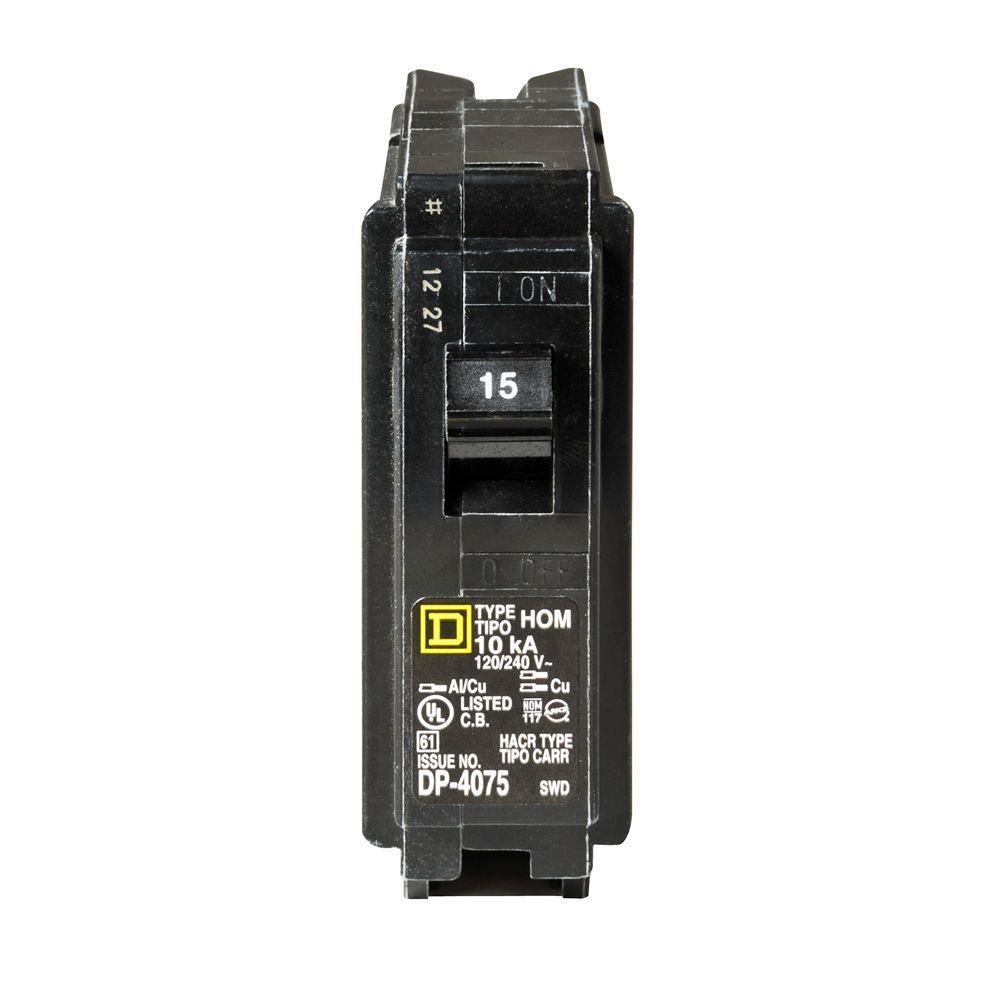 Homeline 15 Amp Single-Pole Circuit Breaker