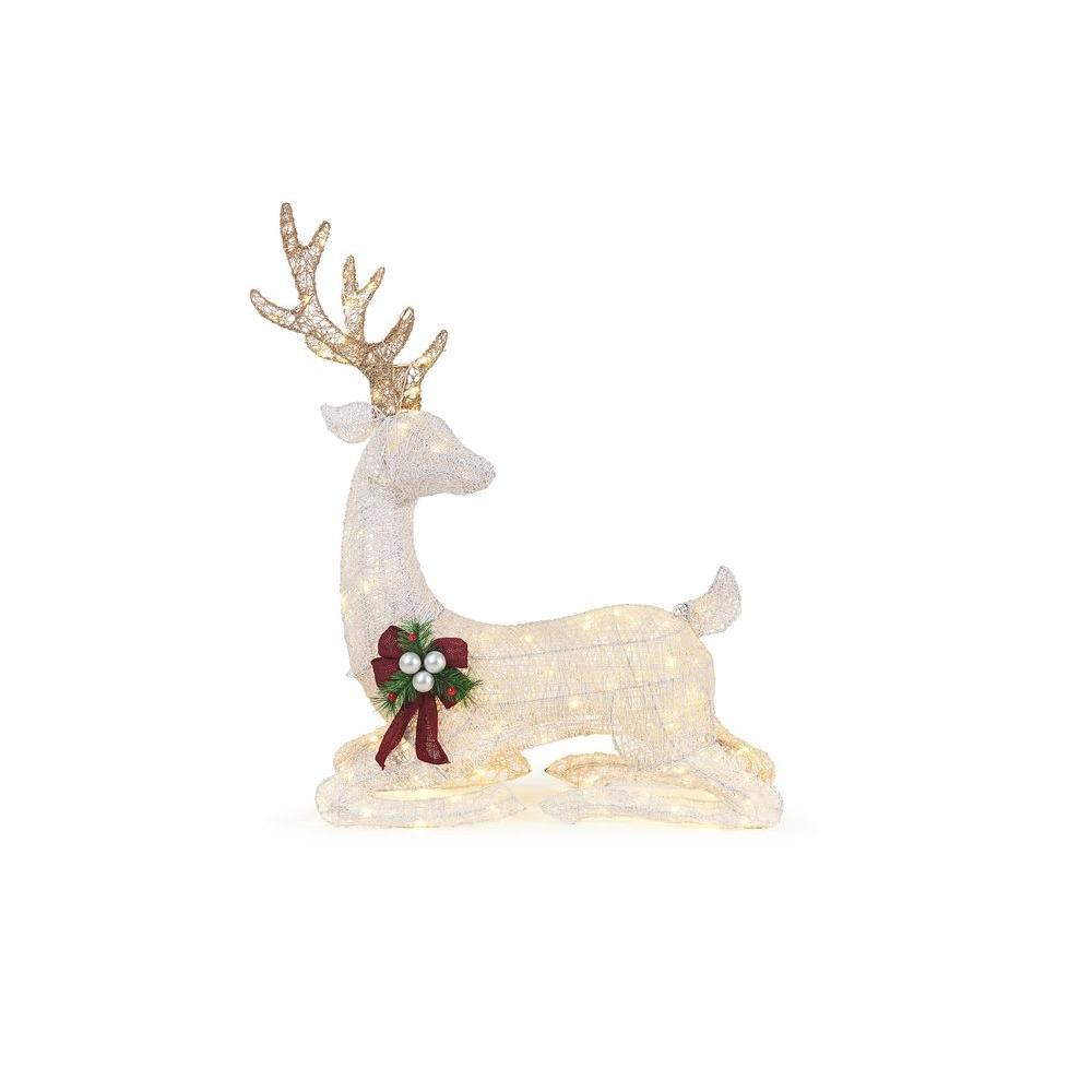 45 in. LED Lighted White PVC Sitting Deer