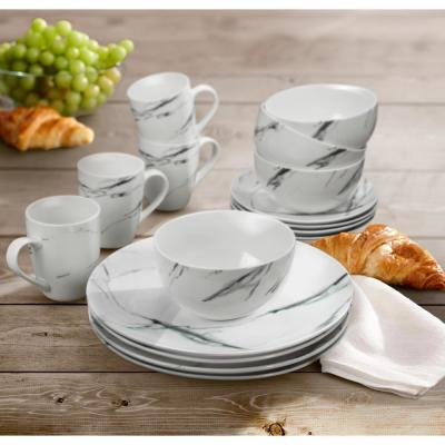 Marble 16-Piece Black Coup Dinner Set