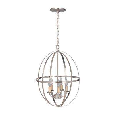 Hardwired Pendant Series 4-Light Brushed Nickel Mini Chandelier with Circular Cage Shade
