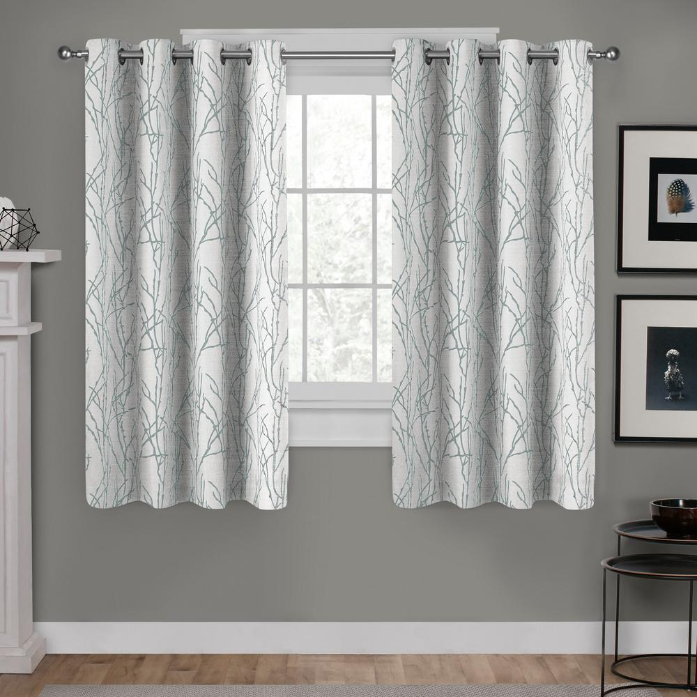 Branches Seafoam Linen Blend Grommet Top Window Curtain