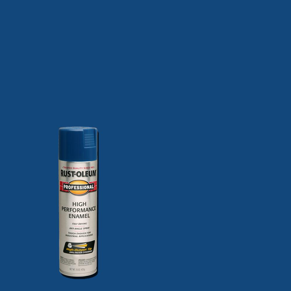Rust Oleum Professional 15 Oz High Performance Enamel Gloss Royal Blue Spray Paint 6 Pack 7527838 The Home Depot