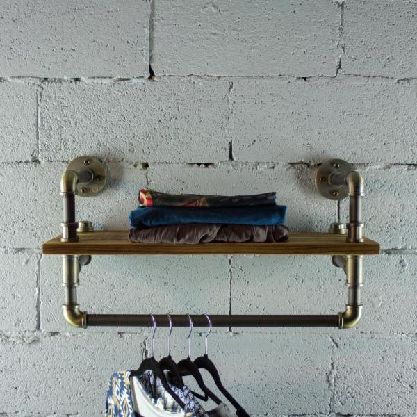 OS Home and Office Furniture Rustic Bronze Pipe with Reclaimed-aged Wood Shelf and Clothing Rack