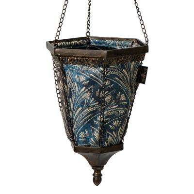 Black Naya Hanging Planter With Blue Liner