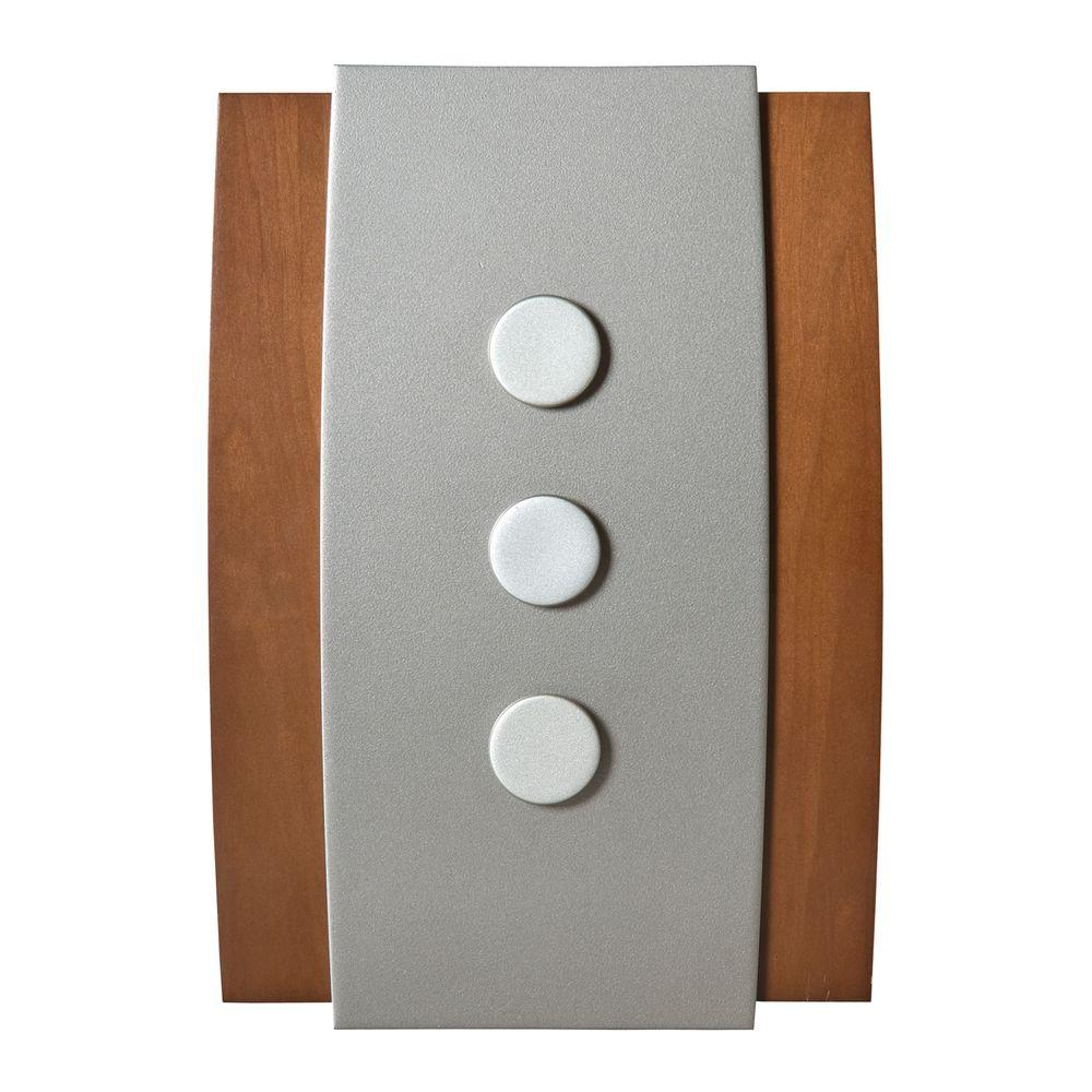 Decor Series Wireless Door Chime, Wood with Satin Nickel Push Button