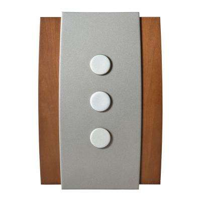 Decor Series Wireless Door Chime, Wood with Satin Nickel Push Button Vertical or Horizontal Mnt