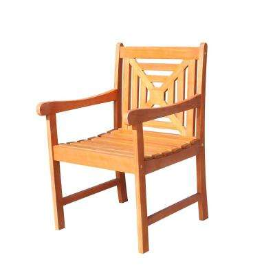 Malibu 1-Piece Eco-Friendly Hardwood Brown Color Patio Dining Chair