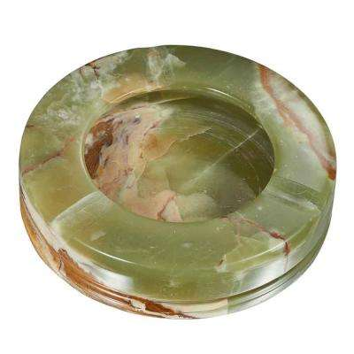 Disk Multicolored Onyx Stone Cigar Ashtray with 3-Cigar Rests