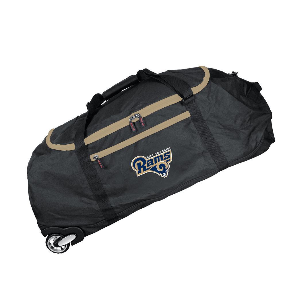 0813fa728620 Denco NFL Los Angeles Rams 36 in. Checked-In Rolling Duffel in Black ...