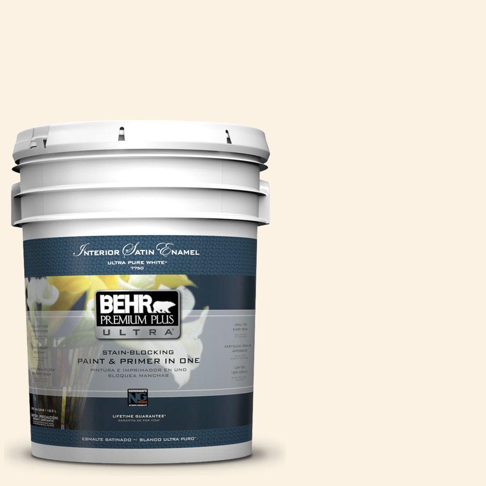 BEHR Premium Plus Ultra 5-gal. #pwn-31 Candlelight Ivory Satin Enamel Interior Paint