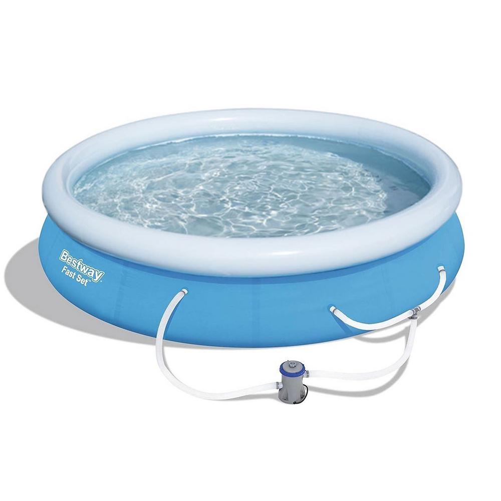 Bestway 12 ft. x 30 in. Round Shape, Fast Set Inflatable Above Ground  Swimming Pool with Filter Pump