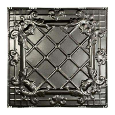 Toledo 2 ft. x 2 ft. Nail-up Tin Ceiling Tile in Argento