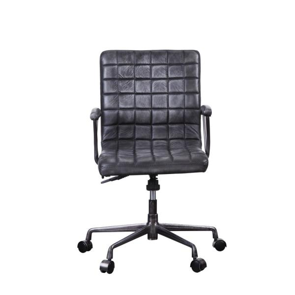Acme Furniture Barack Vintage Black Top Grain Leather And Aluminum Executive Office Chair 92557 The Home Depot
