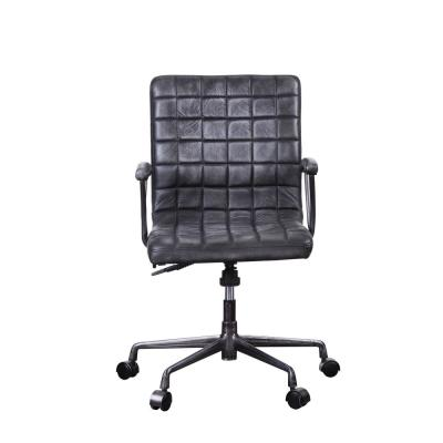 Barack Vintage Black Top Grain Leather and Aluminum Executive Office Chair