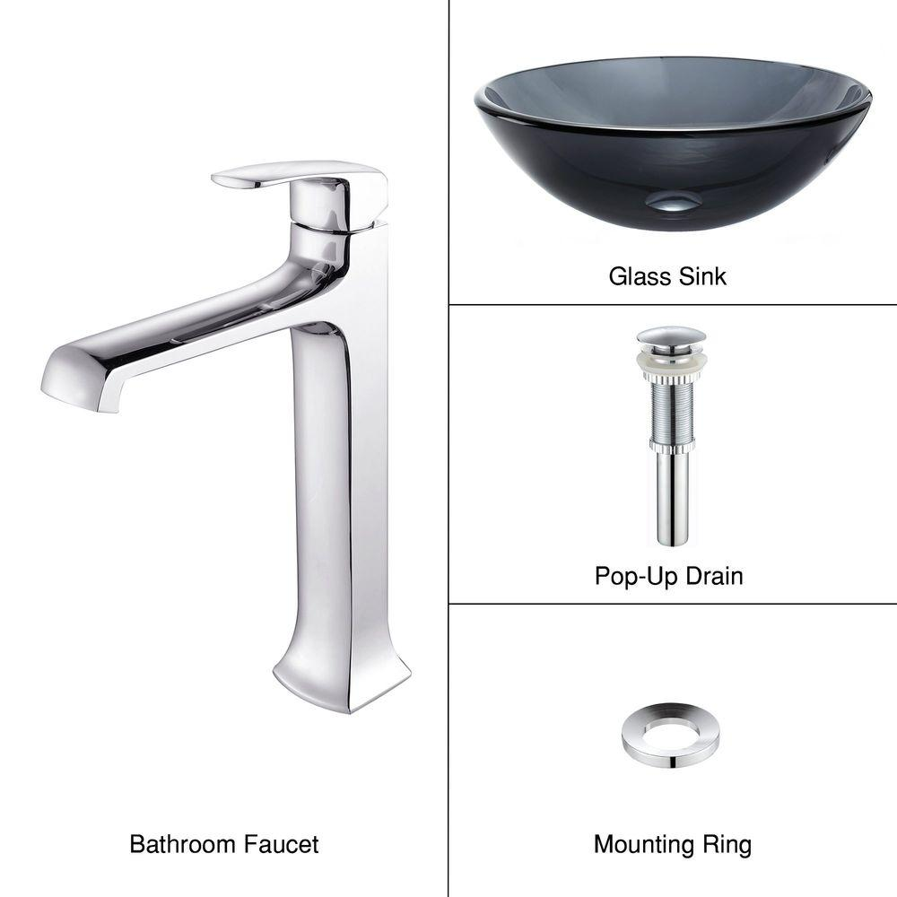 KRAUS Vessel Sink in Clear Glass Black with Decorum Faucet in Chrome